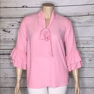 Eloquii NWT 16 Pink Ruffle Sleeve Tie Neck Blouse